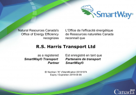 We are pleased to announce that Harris Transport  a registered SmartWay® Transport Partner